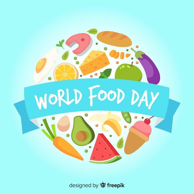 Flat world food day con frutas y verduras vector gratuito