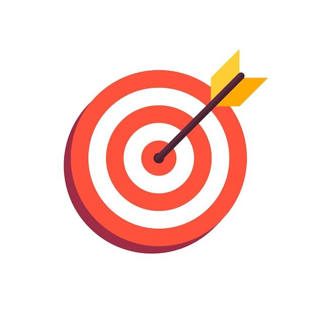 Flecha en el centro del tablero. Vector Premium
