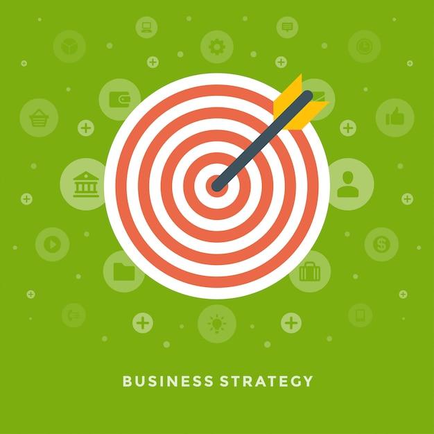 Flecha de diseño plano vector negocio ilustración concepto estrategia y dart board Vector Premium