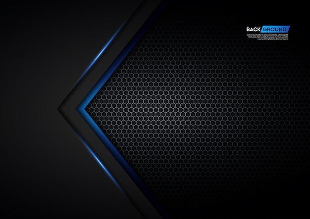Flecha de luz azul negra con fondo de malla hexagonal Vector Premium