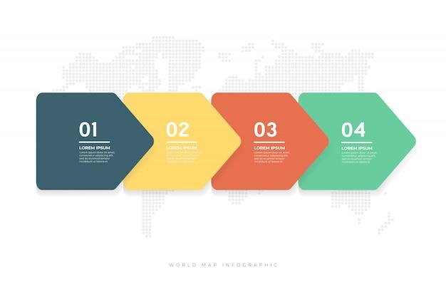 Flechas abstractas plantilla de infografía. Vector Premium