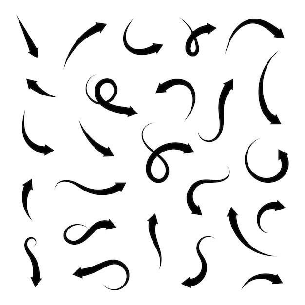 Flechas de colección aisladas. conjunto de iconos de flechas curvas diferentes Vector Premium