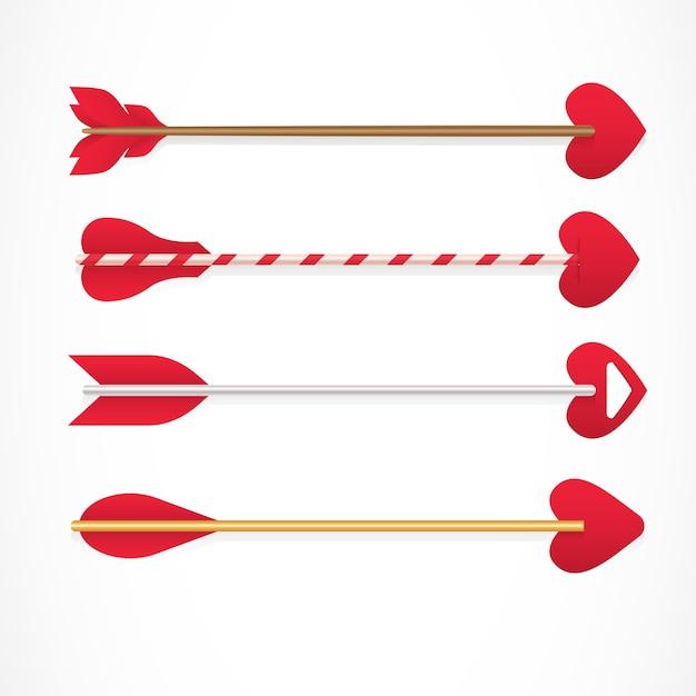 Flechas de cupido con consejos en forma de corazones vector gratuito
