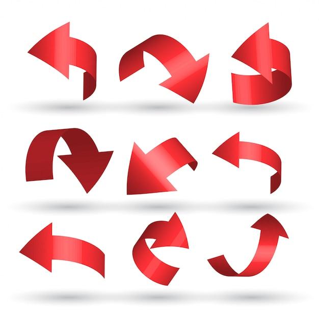 Flechas curvas rojas en estilo 3d vector gratuito