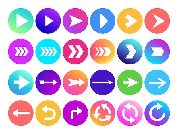 Flechas en el icono de círculo. botón de flecha de navegación del sitio web, colorido degradado redondo hacia atrás o siguiente signo e iconos de punta de flecha web Vector Premium