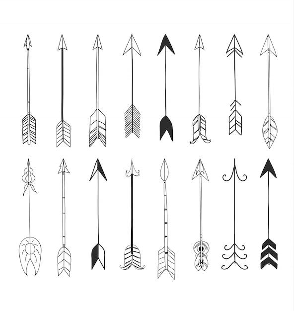Flechas mano dibujado línea linda arte conjunto ilustración Vector Premium