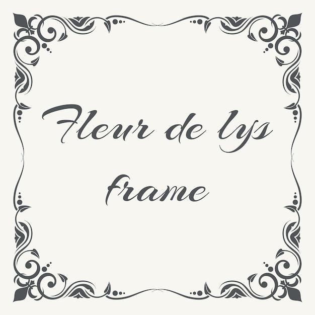 Fleur de lys adornado marco fondo blanco | Descargar Vectores Premium