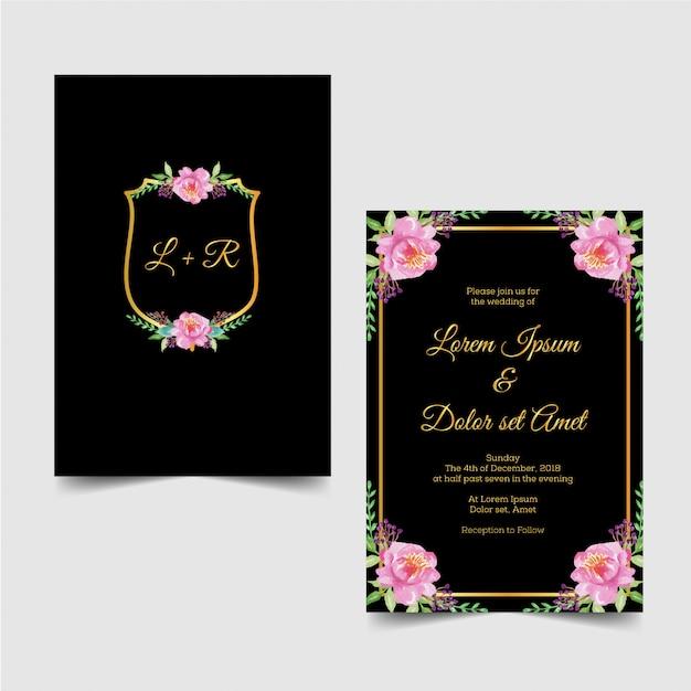 Flor de acuarela moderna invitación de boda oro Vector Premium