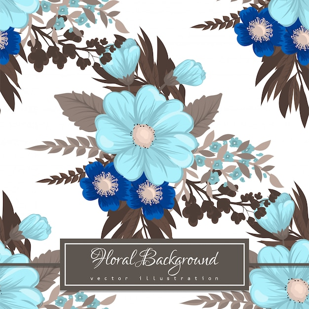 Flor azul claro de patrones sin fisuras vector gratuito