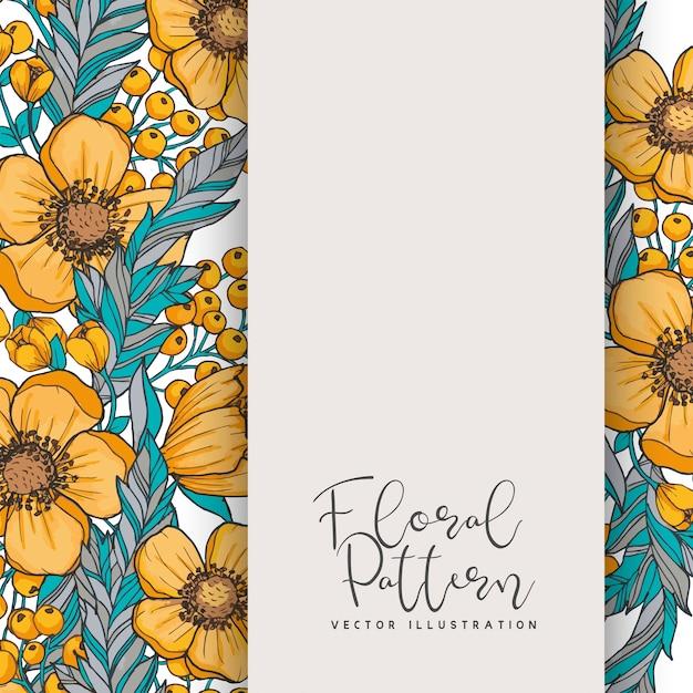 Flor de borde de dibujo - marco amarillo vector gratuito