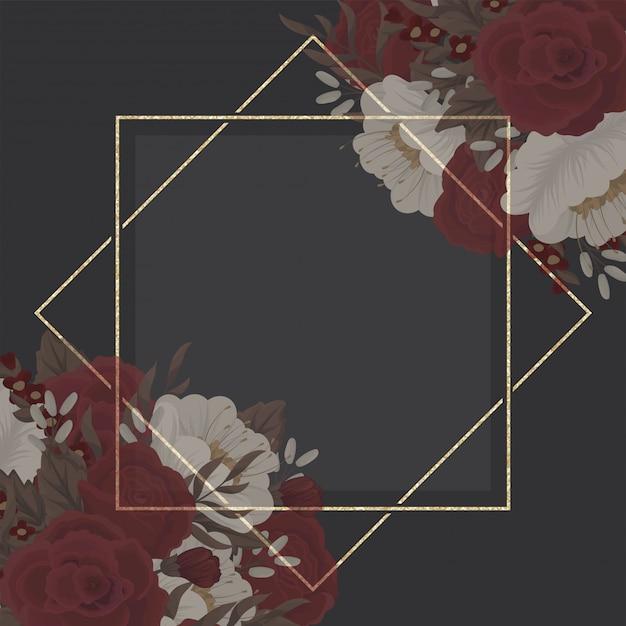 Flor de borde de dibujo - marco rojo vector gratuito