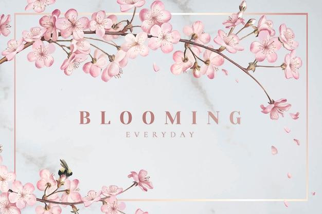 Flor de cerezo marco vector gratuito