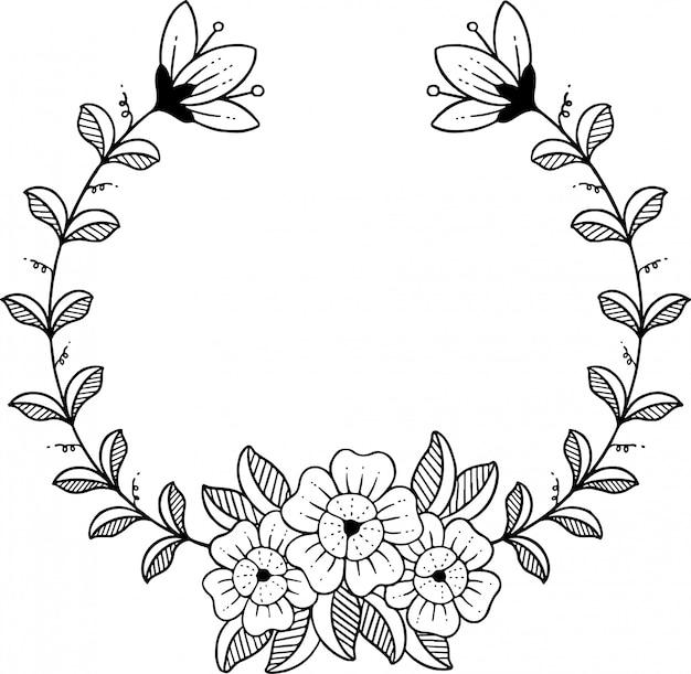 Flor dibujada a mano Vector Premium