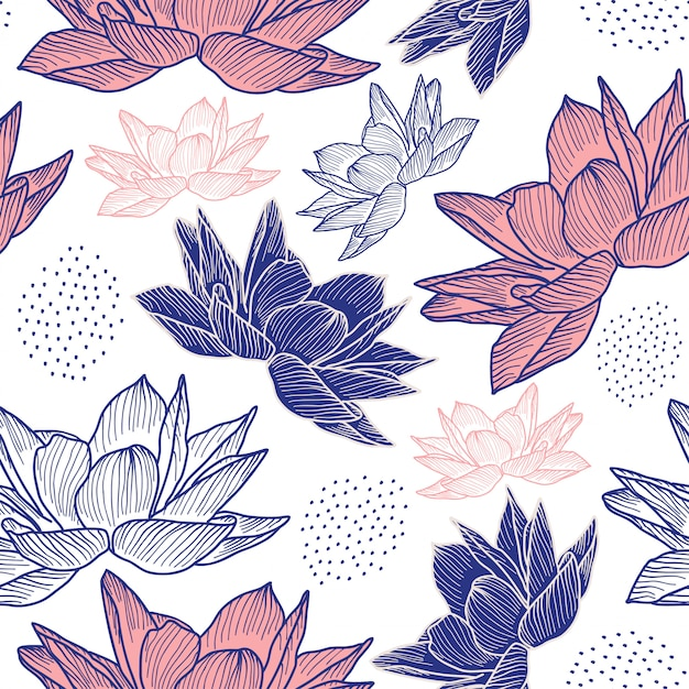 Flor dibujo de patrones sin fisuras con estilo dibujado a mano Vector Premium