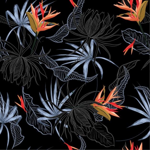 Flor exótica y hojas de patrones sin fisuras Vector Premium