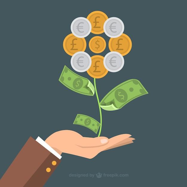 Flor hecha de dinero vector gratuito