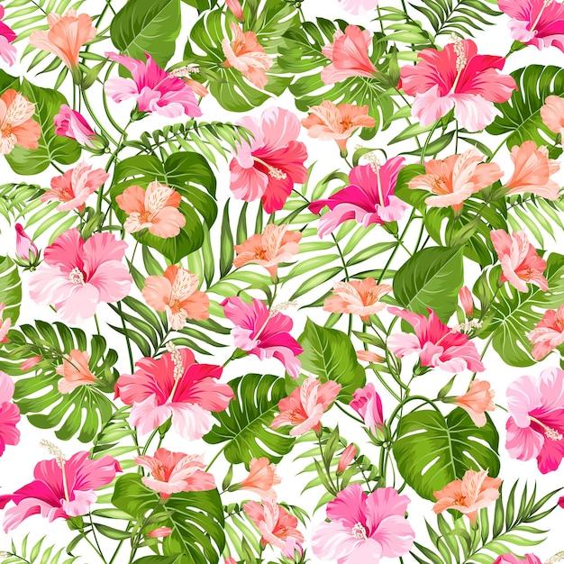 Flor de hibisco y palma de patrones sin fisuras vector gratuito