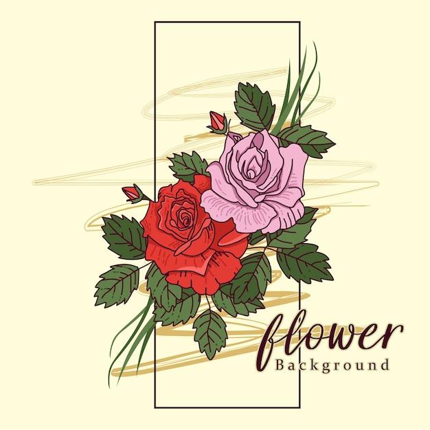 Flor ilustración pared marco dor decoración arte | Descargar ...