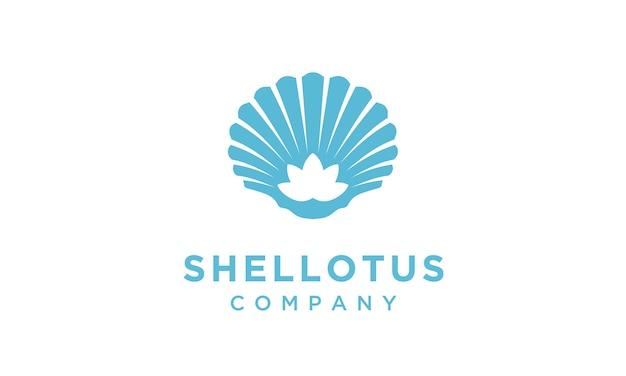 Flor de loto con diseño de logotipo de mariscos Vector Premium