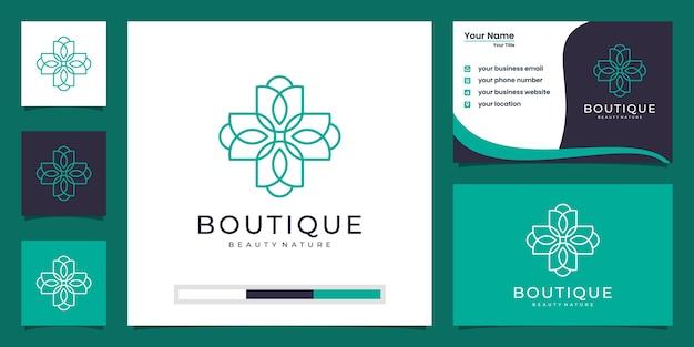 La flor de loto femenina y las mujeres enfrentan el logotipo del símbolo natural y la tarjeta de visita Vector Premium