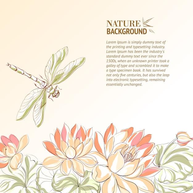 Flor de loto y libélula. vector gratuito