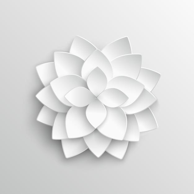 Flor de loto del libro blanco 3d en el ejemplo del vector del estilo de la papiroflexia. flor de papel de loto, flor de flor. Vector Premium