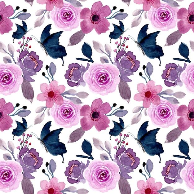 Flor morada y mariposa con acuarela de patrones sin fisuras Vector Premium