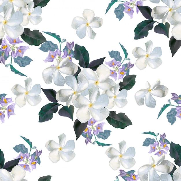 Flor de patrones sin fisuras con flor Vector Premium