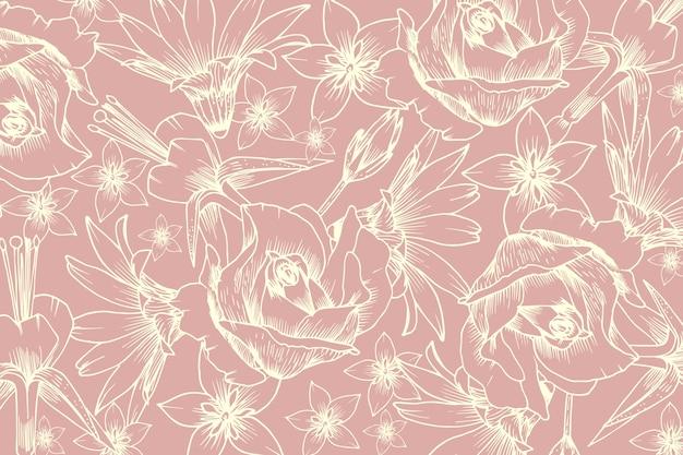 Flor realista dibujado a mano sobre fondo rosa pastel vector gratuito