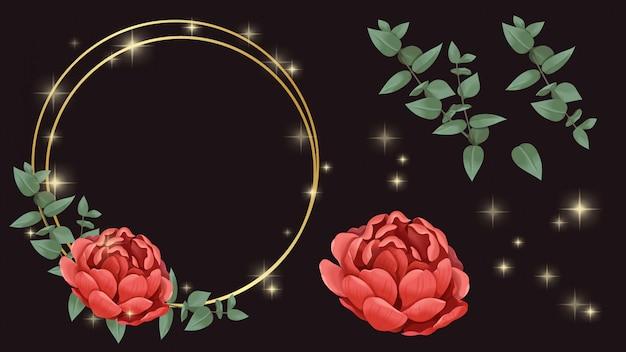 Flor roja, marco dorado e ilustración brillante. Vector Premium