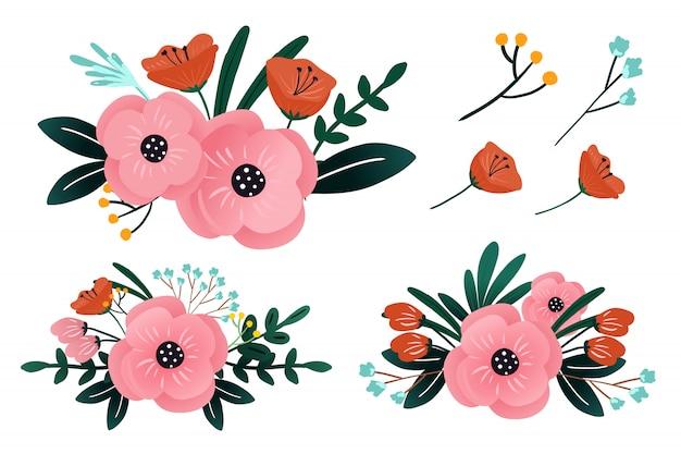 Flor rosa conjunto de arreglos florales para boda Vector Premium