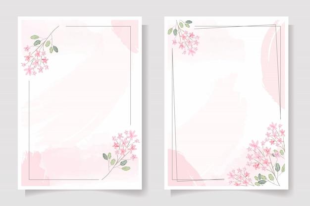 Flor rosa con marco en la colección de plantillas de invitación de boda o tarjeta de felicitación de cumpleaños con salpicaduras de acuarela rosa Vector Premium