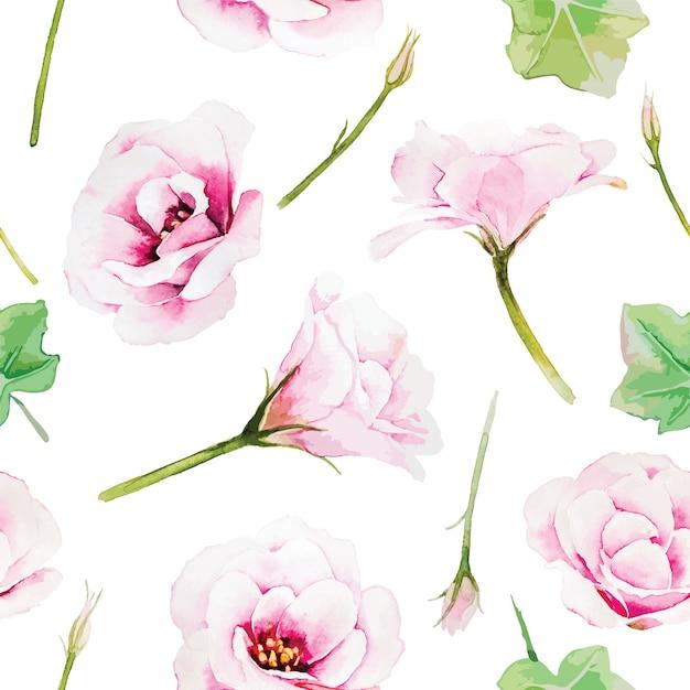 Flor rosada del lisianthus, modelo inconsútil en el fondo blanco. estilo acuarela Vector Premium