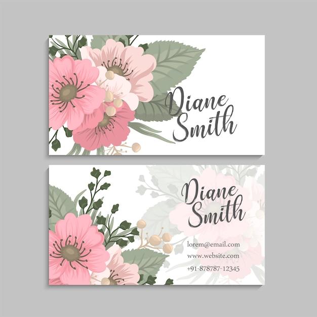 Flor tarjetas de visita flores de color rosa vector gratuito