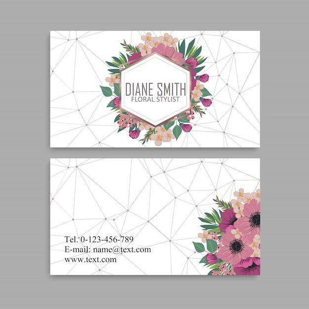 Flor tarjetas de visita flores rosas fuertes vector gratuito