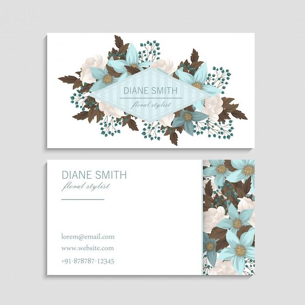 Flor tarjetas de visita verde menta vector gratuito