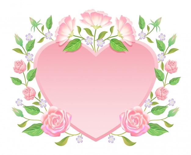 Floral. flor rosa y hojas con decoración de etiqueta en blanco Vector Premium