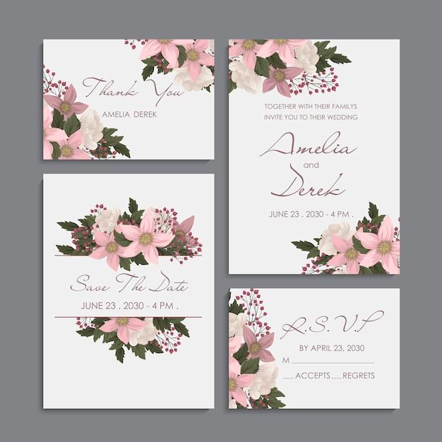 Floral rosa - conjunto de invitación de boda vector gratuito