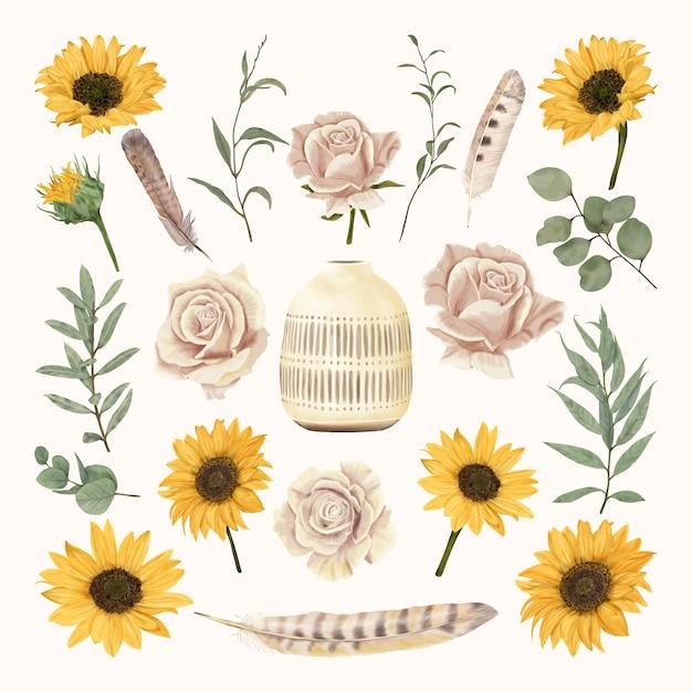 Florero vintage con flores y plumas Vector Premium