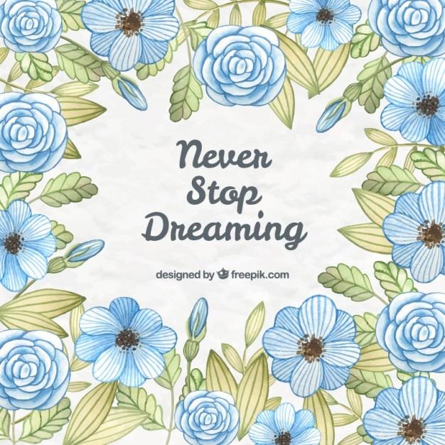 Flores Azules Dibujadas A Mano Con Frase Bonita Descargar Vectores