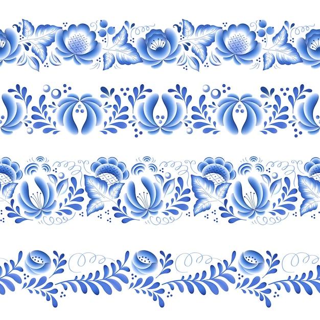 Flores azules porcelana rusa floral hermoso adorno popular. ilustración. bordes horizontales sin costuras. Vector Premium