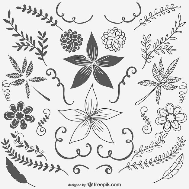 Flores En Blanco Y Negro Vintage Descargar Vectores Gratis