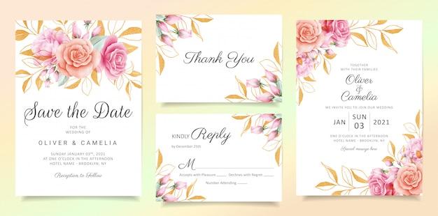 Flores con brillo deja conjunto de plantillas de tarjeta de invitación de boda Vector Premium