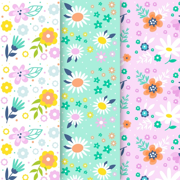 Flores de la colección de patrones sin fisuras de la temporada de primavera vector gratuito