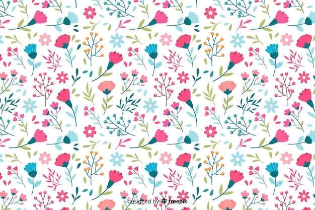 Flores de colores de fondo decorativo estilo plano vector gratuito
