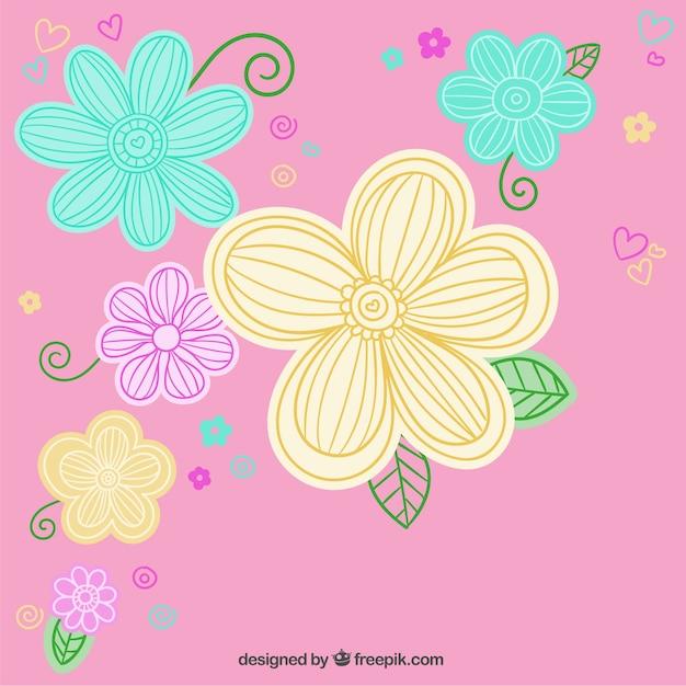 Flores De Colores Sobre Fondo De Color Rosa Descargar Vectores Gratis