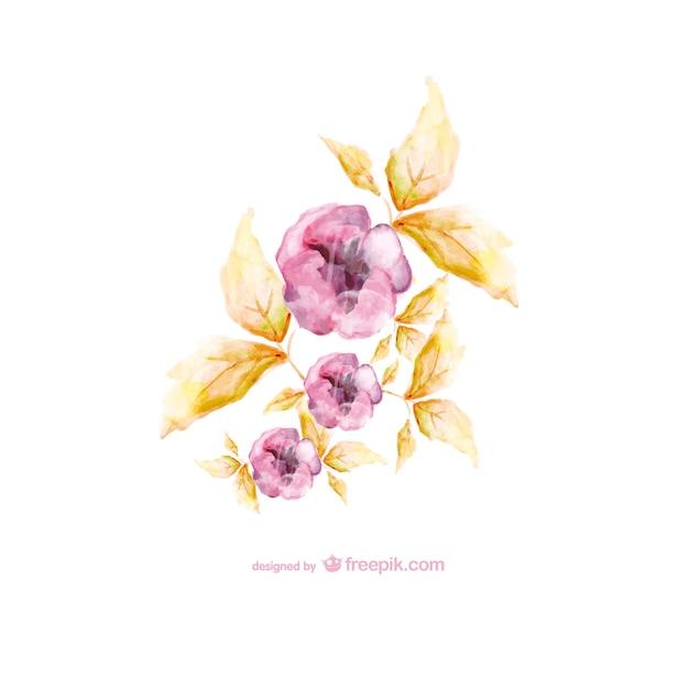 Flores de acuarela en dos colores | Descargar Vectores gratis