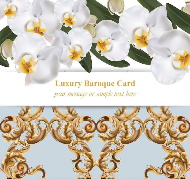 Flores de orquídeas con tarjeta de ornamentos. banner poster ...