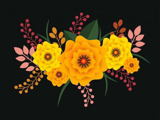 Fondos De Hojas De Papel: Flores De Papel De Colores Y Hojas Sobre Fondo De Color