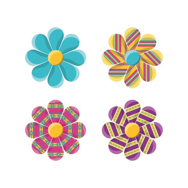 Flores De Decoración Plana Con Símbolos Ornamentales